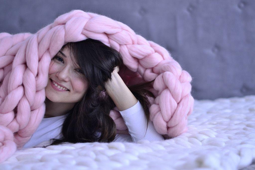 Ružičasto Woolnia ćebe od merino vune