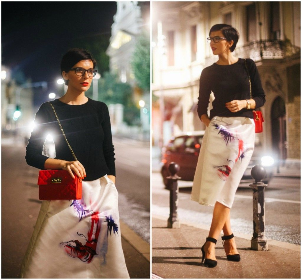 Brana's Divine World - outfit - rekapitulacija - bela suknja do kolena, crvena tašna