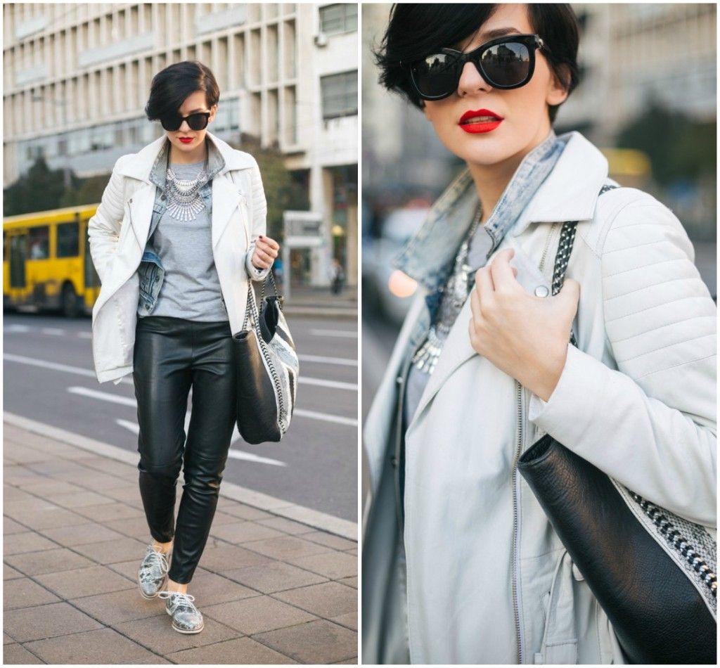 Brana's Divine World - outfit - rekapitulacija - bela, kožna jakna, Zara pantalone od veštačke kože, teksas jakna i kožna jakna