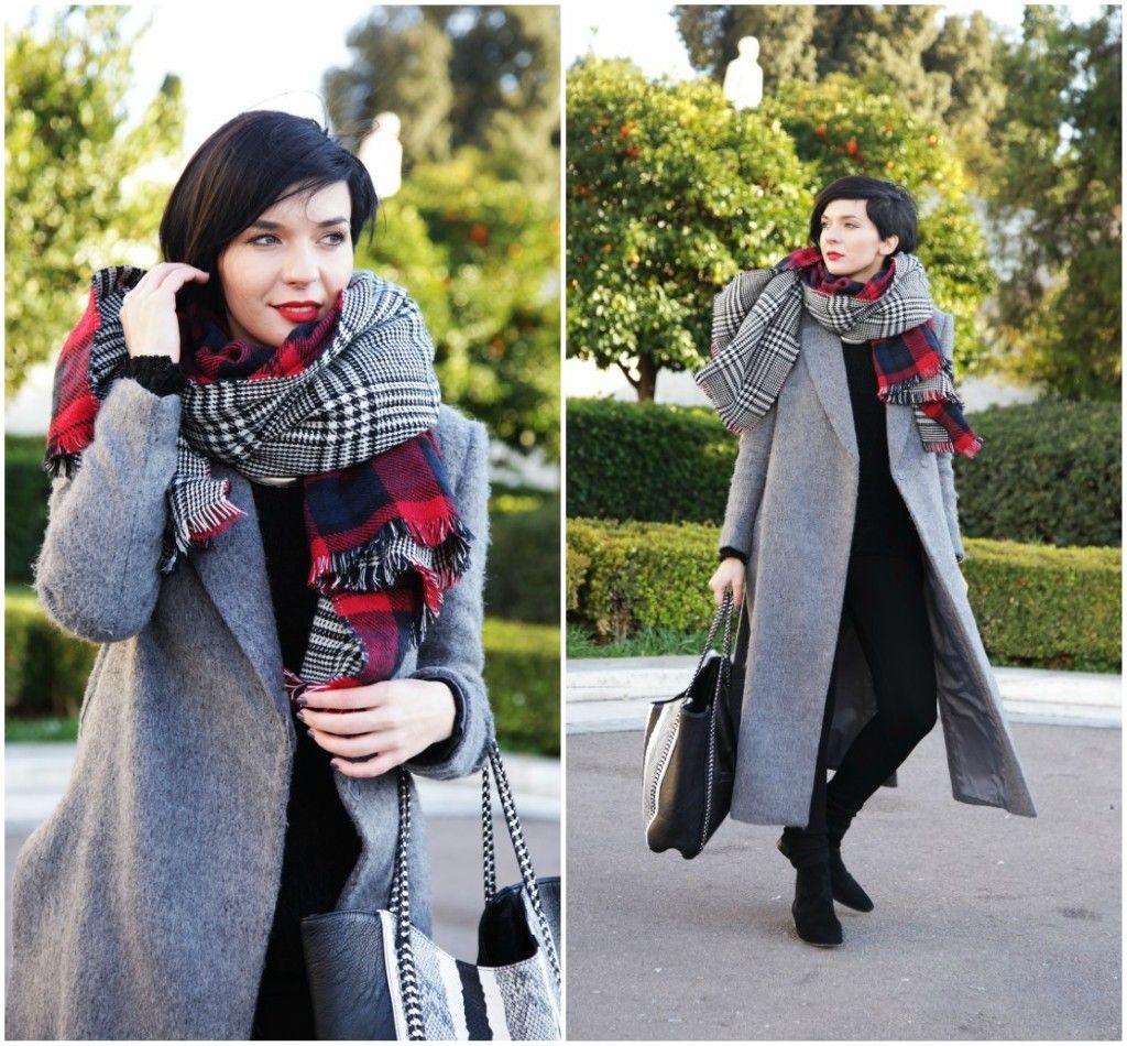 Brana's Divine World - outfit - rekapitulacija -  Choies dugački kaput, veliki karirani šal