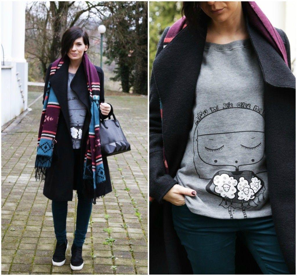Brana's Divine World - outfit - rekapitulacija - Zara kaput, Terranova šal, Škrabac dukserica